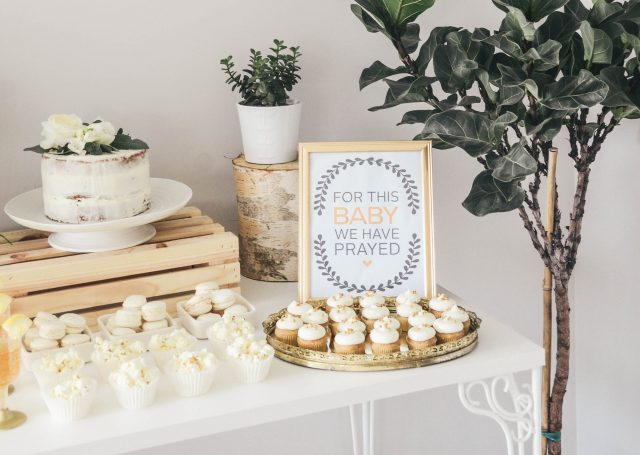 birch  white and gold baby shower decor ideas   free