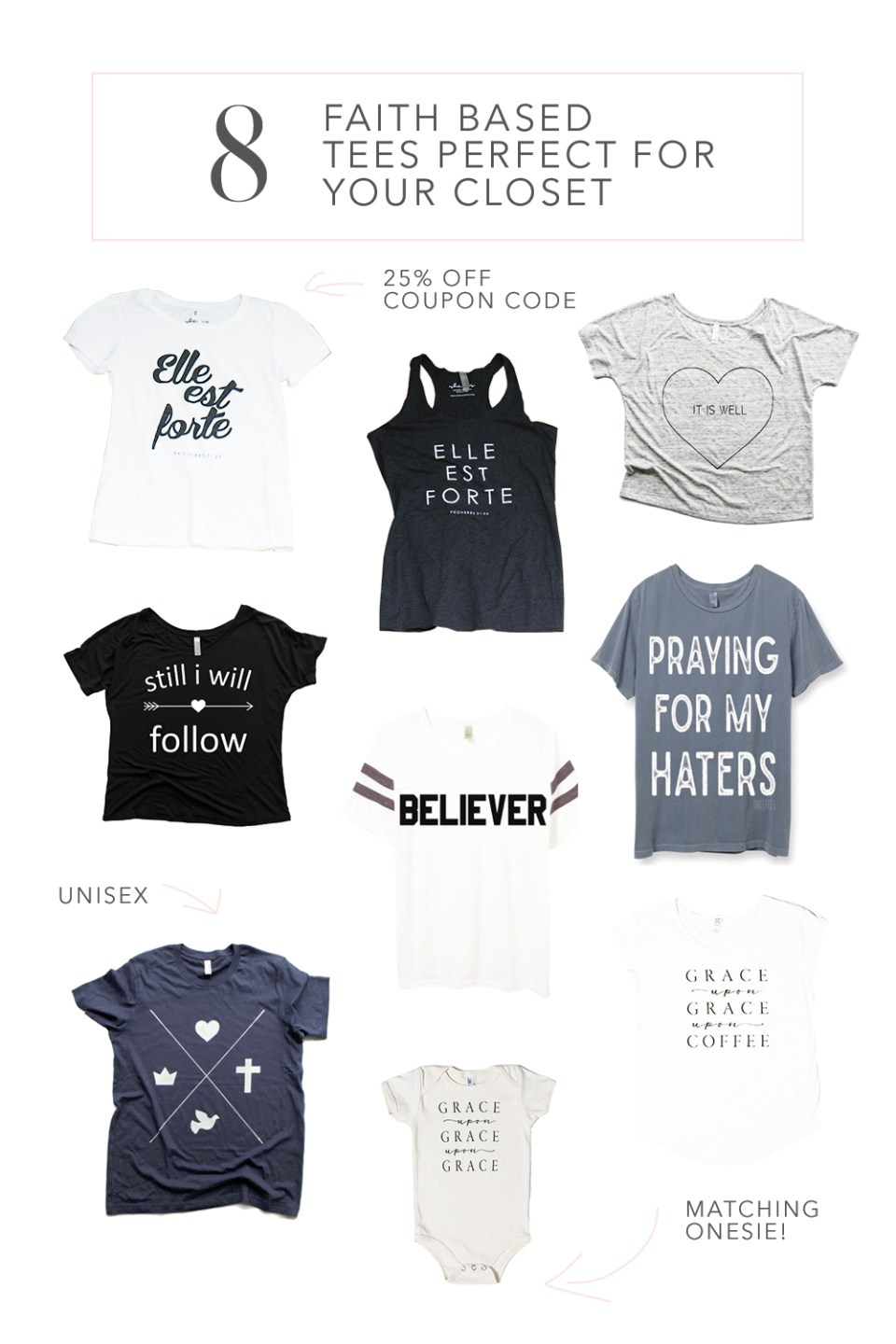 8 Adorable Faith Based Tees from Small Online Shops | 25% off Coupon Code to SHE IS Available on Blog