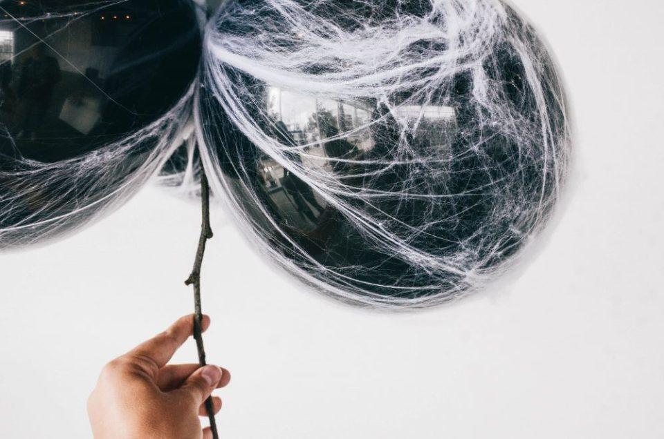 DIY Spooky Spiderweb Balloon for Halloween