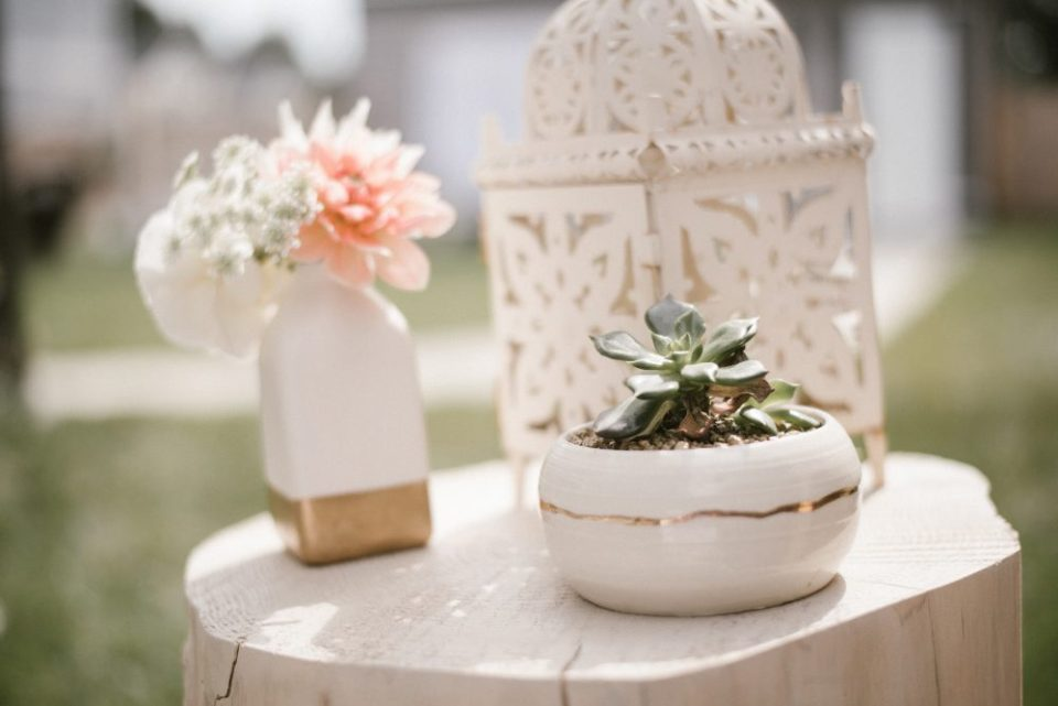 Potted plant from Three Corners Artisan at baby shower   White Boho Baby Shower
