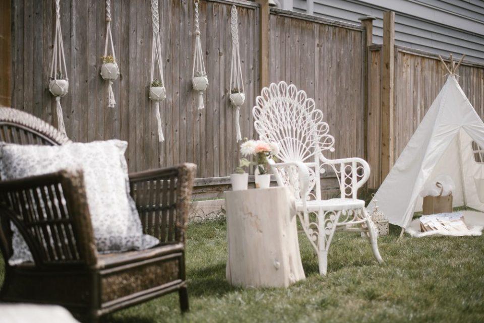 backyard styled boho and white lace baby shower   White Boho Baby Shower