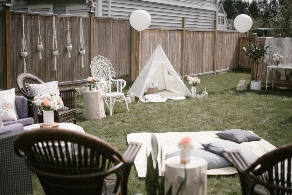 Backyard White Lace and boho baby shower | White Boho Baby Shower