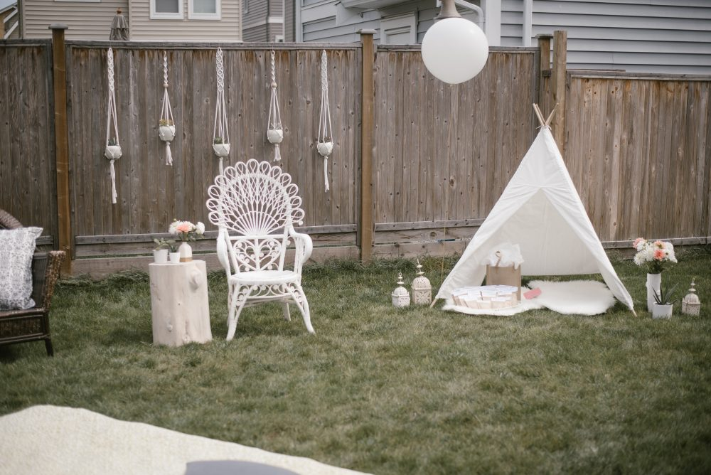 Backyard White Lace and boho baby shower