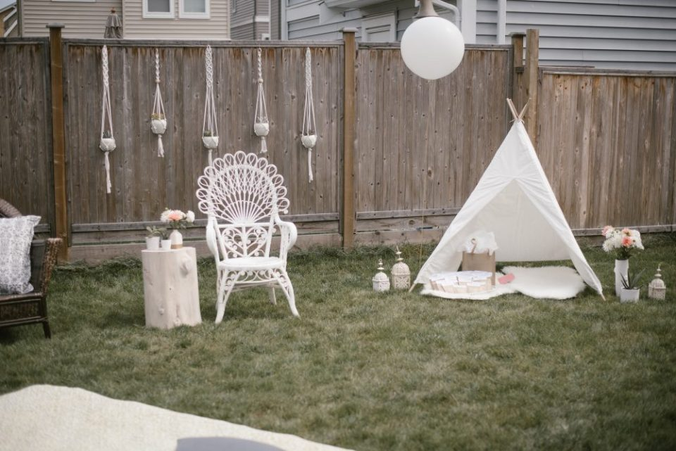 Backyard White Lace and boho baby shower