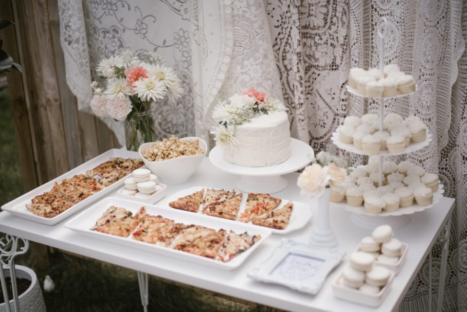 White lace and boho dessert and pizza table