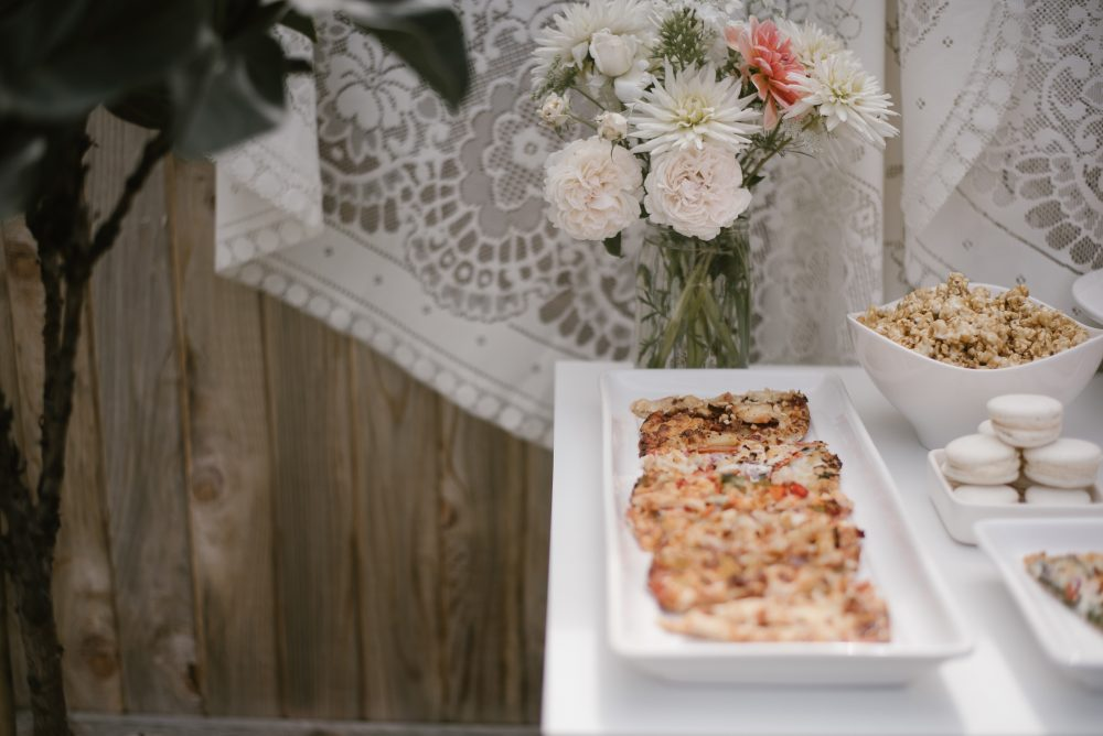 Pizza and popcorn at babyshower