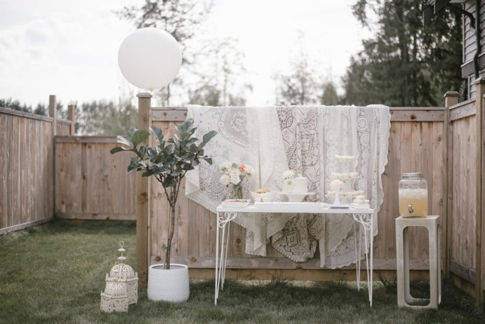 White Lace Table Decor at Meet the Baby Shower