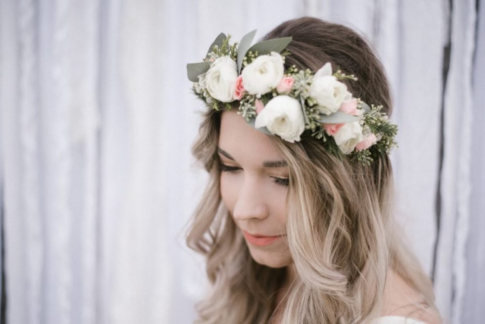 Guest of Honor with Fresh Floral Crown | White Boho Baby Shower