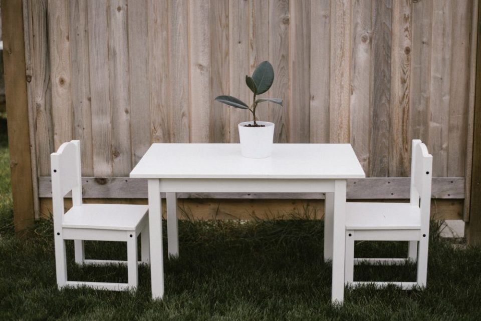 kids table white lace party table   White Boho Baby Shower