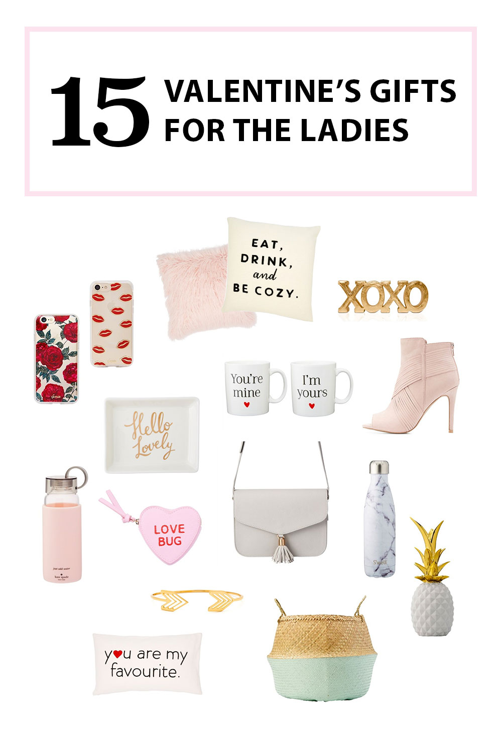 Valentines Day Gift Ideas | Pillows Shoes Baskets Home Decor Ideas | White, Blush Pink and Gold