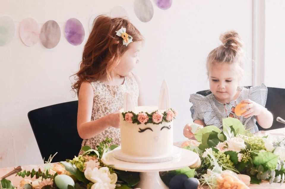 Easter Bunny Cake Idea | Kid's Geo Floral Easter Party Decor and DIY's for Spring