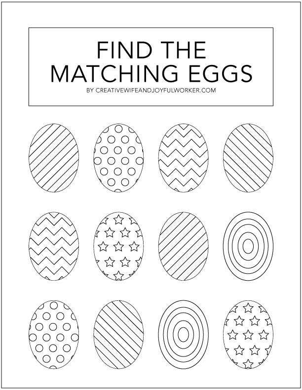 Kid's Easter Egg Activity Sheet Free Printable
