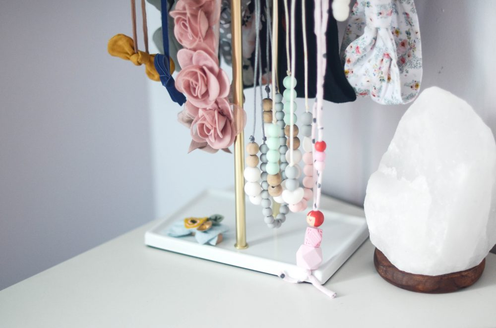 Jewelry and Headband holder in Geo Floral Themed Big Girl Room