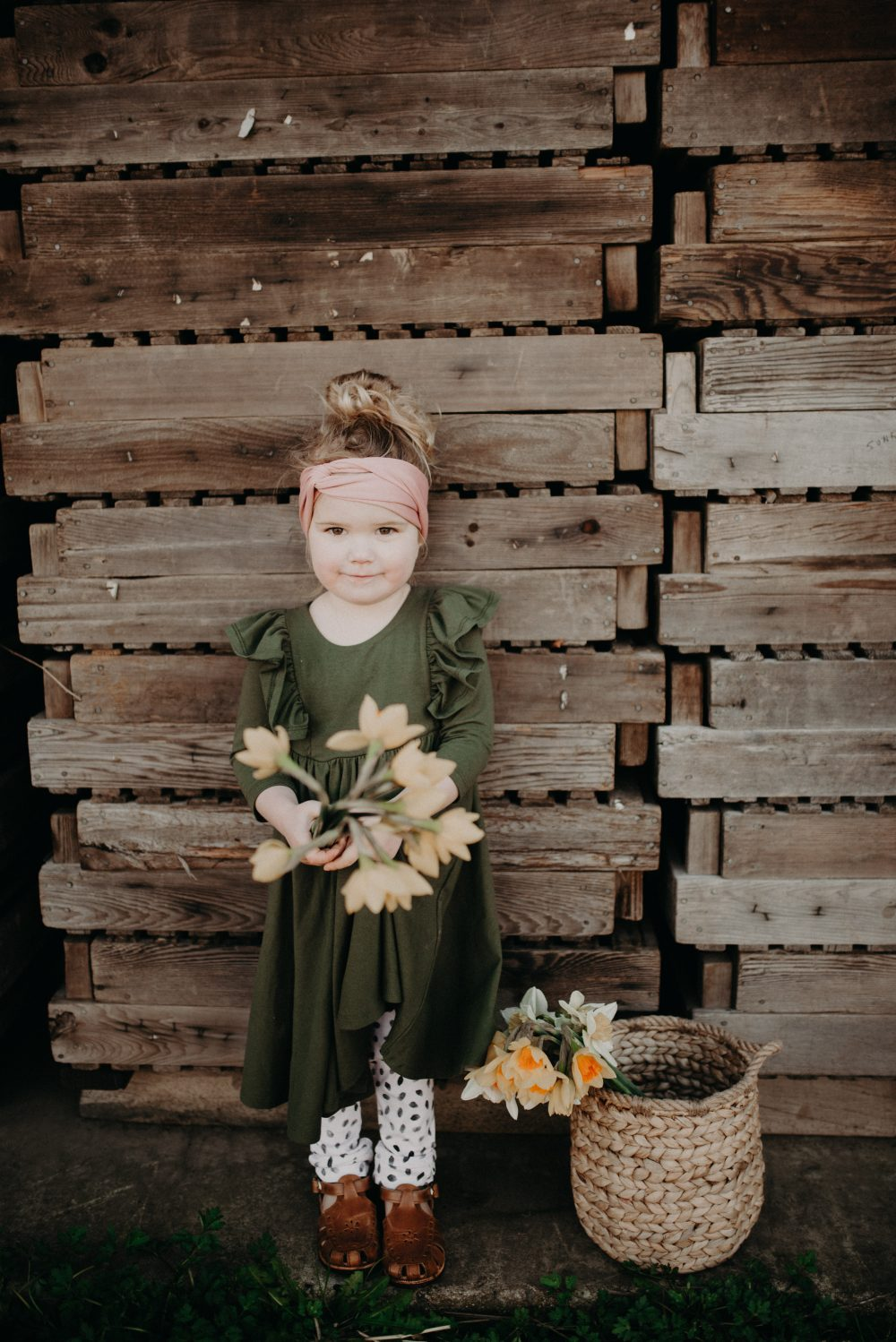 Green Remie Co. Dress | Kids Daffodil Field Picnic