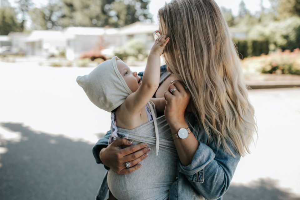 Mother and Daughter wearing Mint &Birch, DearLovesCo, Beluga Baby Wrap and Clearly.ca
