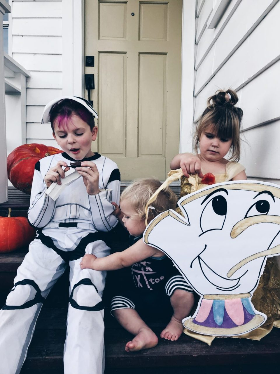 Belle, Chip and a Storm Trooper Halloween Costumes 2017