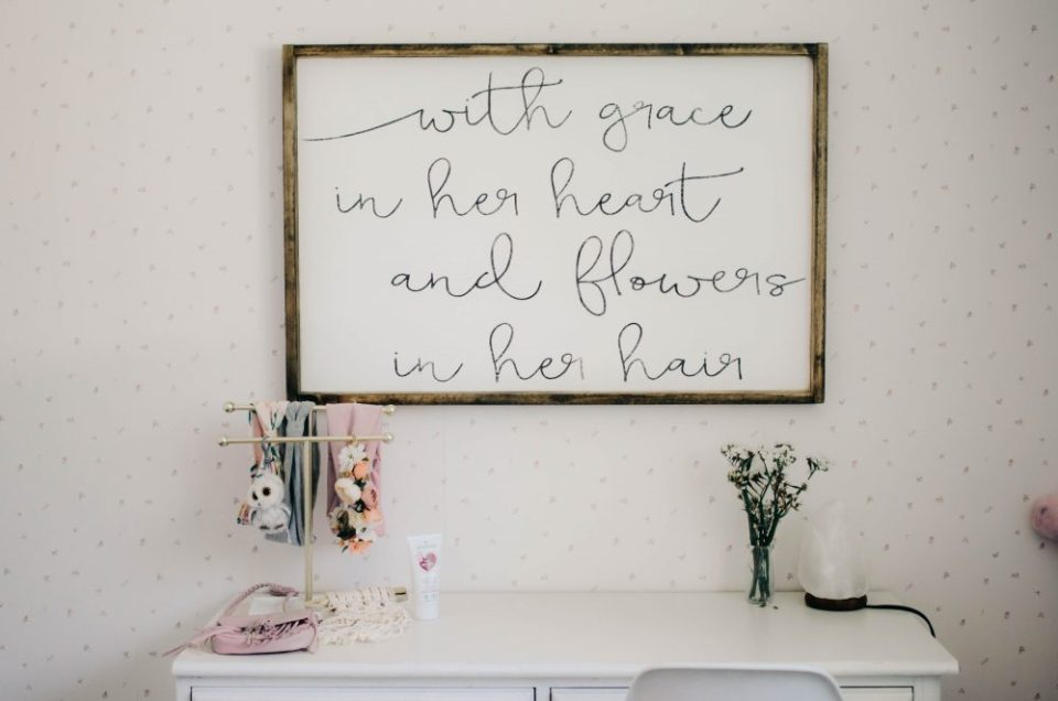 Script Wall Hanging | Minimalist Decor in Girls Shared Bedroom