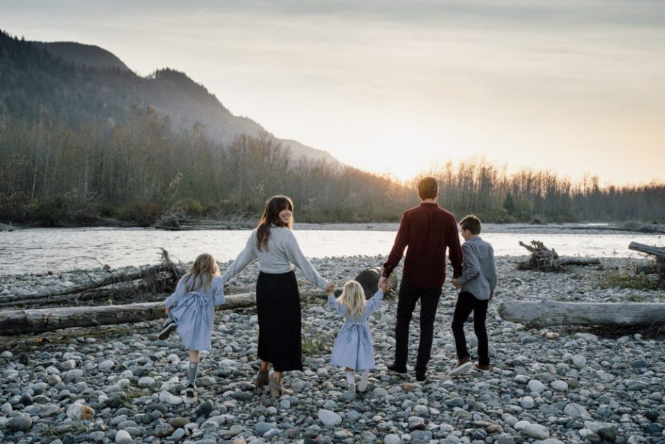 Family Photo at the river in Chilliwack