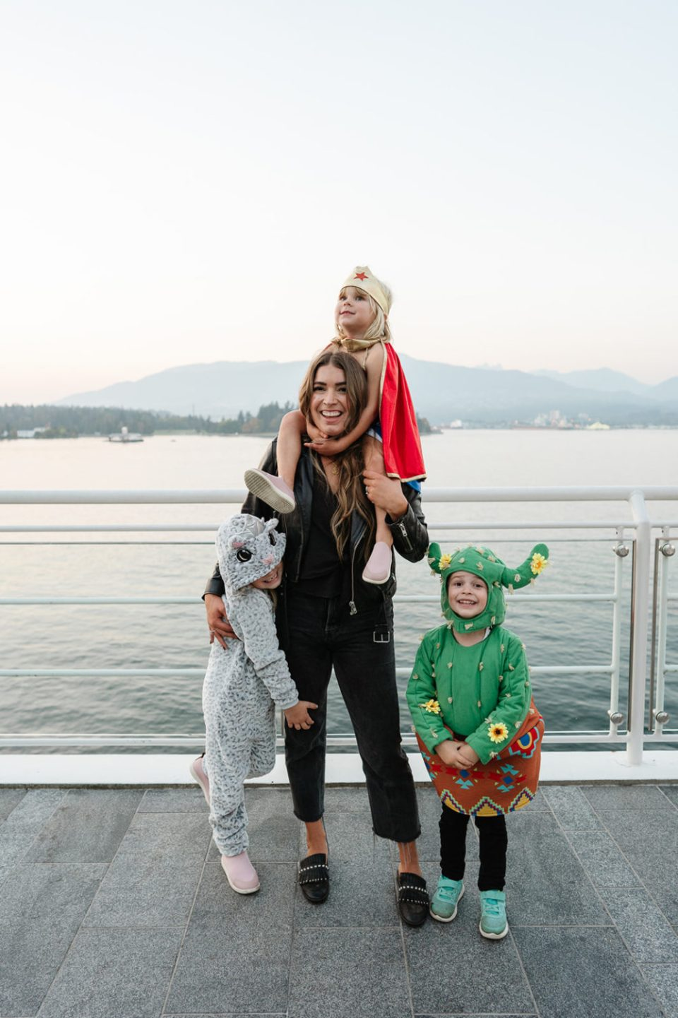 Downtown Vancouver at Canada Place with the kids in their Halloween Costumes before Howl Over Canada
