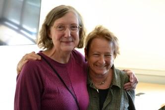 Director of Creative Writing Charlotte Holmes and retiring Professor Robin Becker.