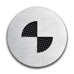 Badges graphiques BMW en inox brossé – 70mm (la paire)