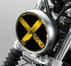 Kit stickers CROIX ouverte + film jaune pour optique de phare moto