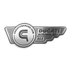 Badges «DUCATI SCRAMBLER 803cc» en aluminium fraisé (la paire)