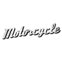Mot «MOTORCYCLE» découpé en aluminium