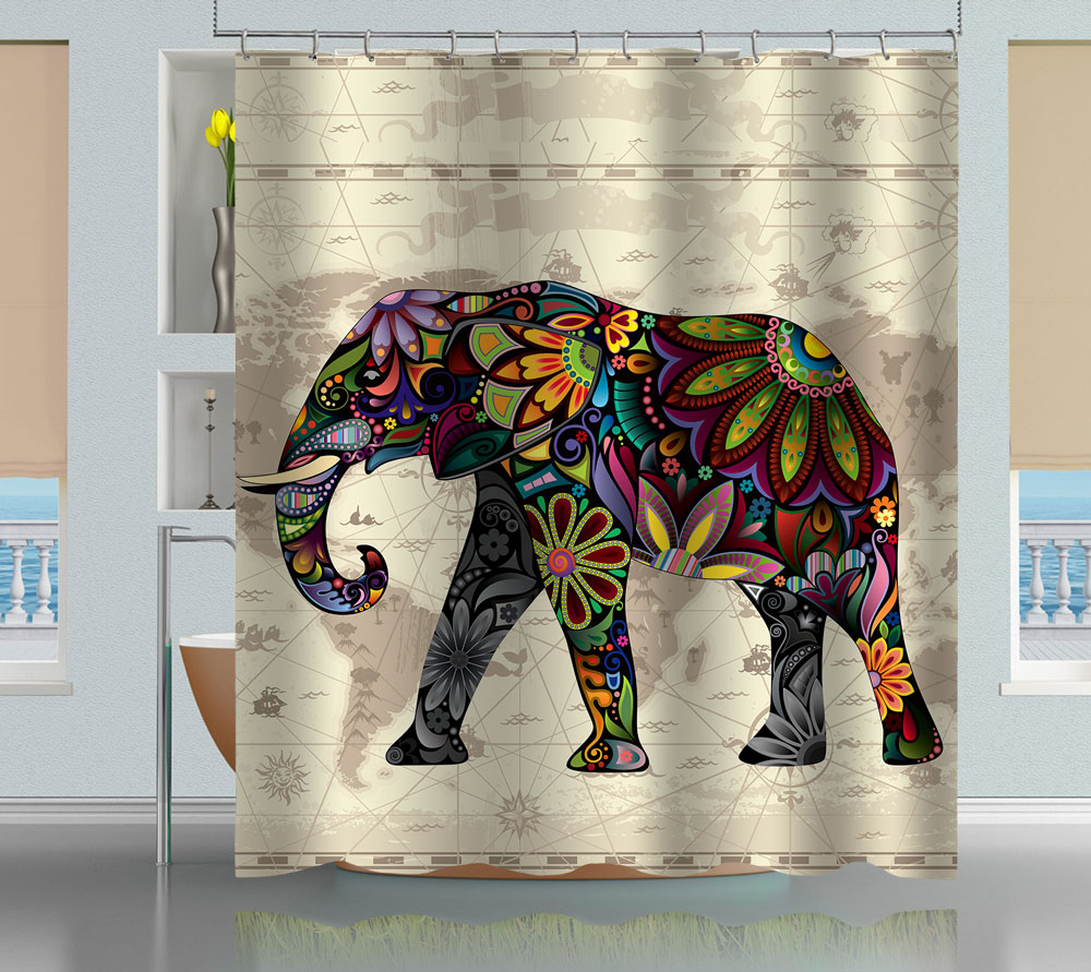 Floral Elephant World Map Shower Curtain