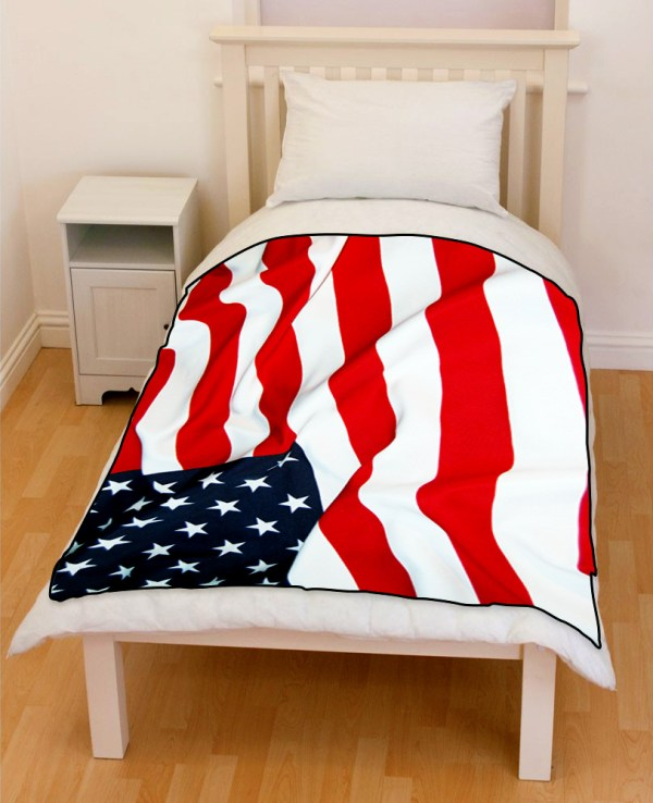 American Flag Waving Bedding Throw Fleece Blanket