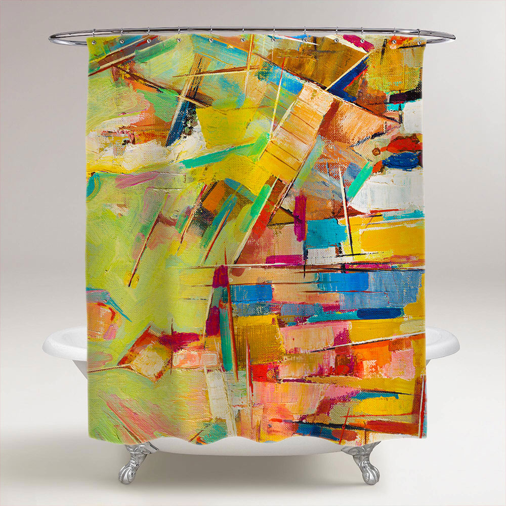 Abstract Colorful Oil Painting On Canvas Bathroom Shower