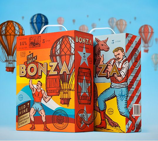 vino australiano bonza packaging