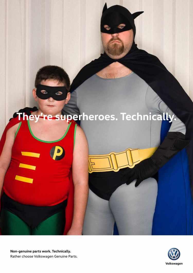 superheroe tecnicamente volkswagen campaña repuesto