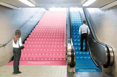 creatividad desigualdad de genero con una metáfora de las escaleras