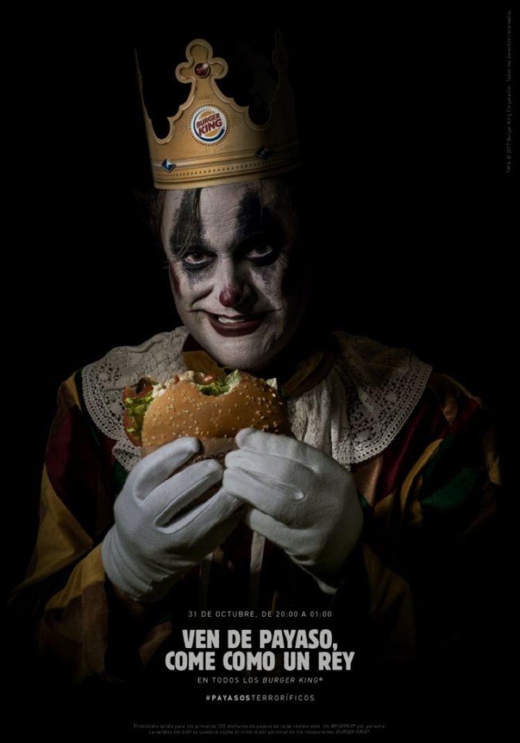 creatividad de burguer king para la campaña de halloween con payasos terroríficos
