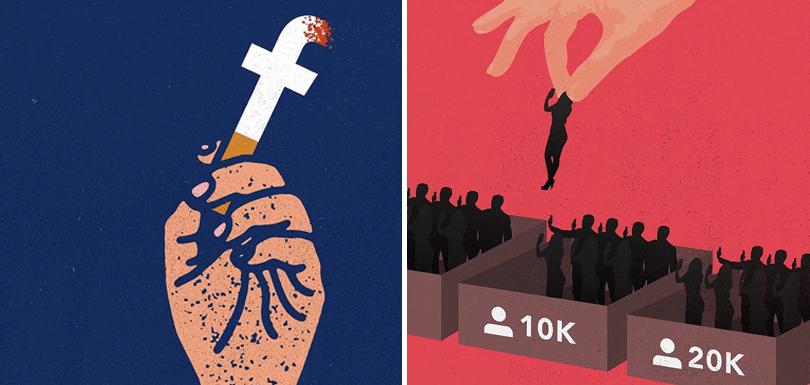 22 ilustraciones que denuncian la adicción a las redes sociales de algunos