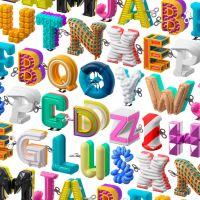 Alfabeto inspirado en los clásicos juguetes de cuerda