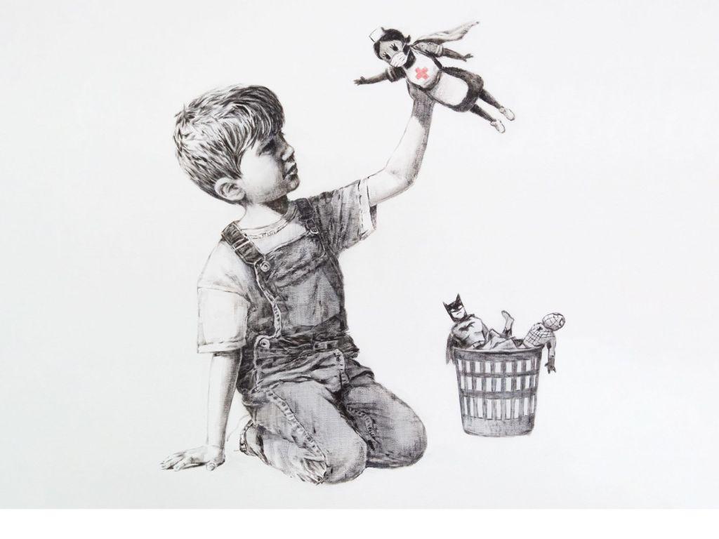 cuadro banksy el niño que juego con su nueva superheroína