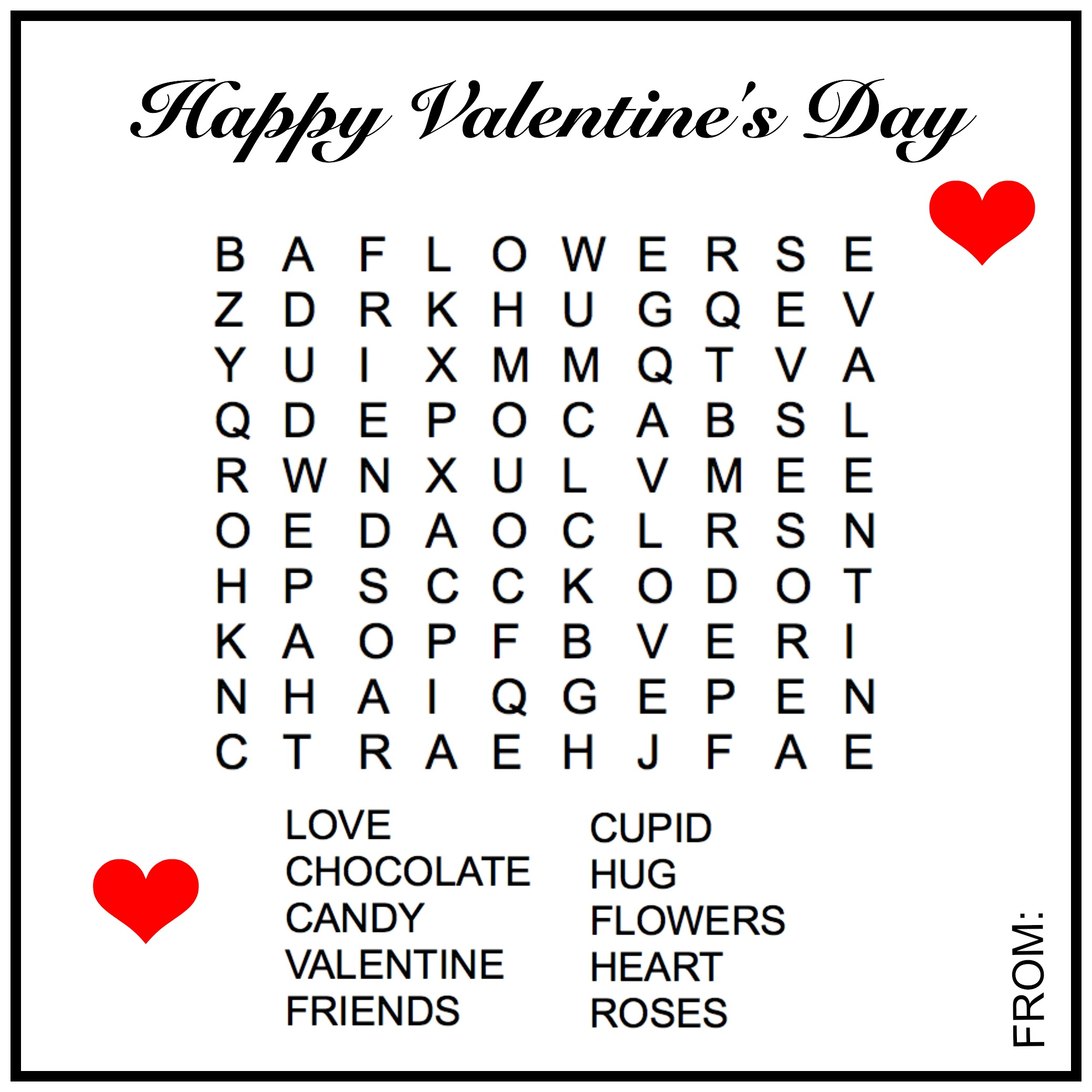 Free Valentine S Day Word Search