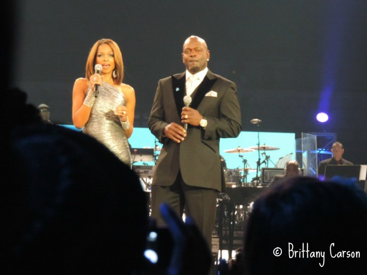 Pat and Emmitt Smith introducing the audience to a deserving family whose child was diagnosed with Autism.