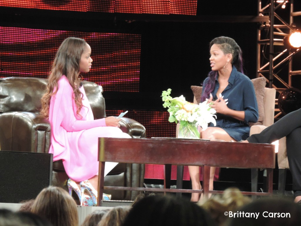 Sarah Jakes interviewing actress Meagan Good about being in the spotlight.