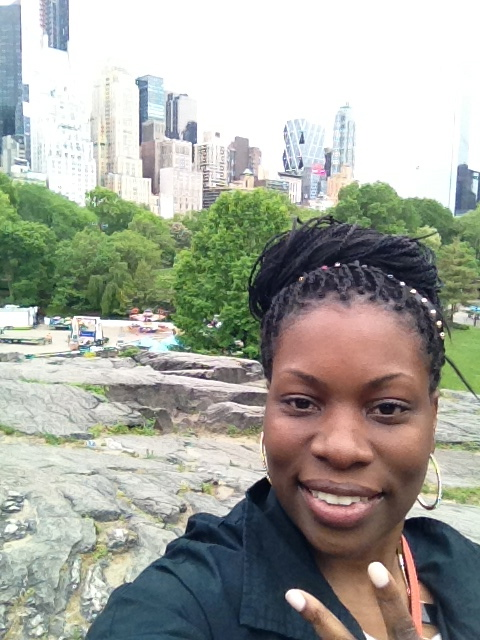 Selfie in the park with Manhattan in the distance