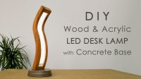 Curved Wood and Acrylic LED Desk Lamp with Concrete Base