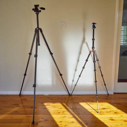 My first carbon fibre stills tripod at left and the 3 Legged Thing Equinox Leo at right. The Manfrotto at left extends more than high enough for the perfect frontal full-face portrait though I would be reluctant to extend its centre column any higher than halfway due to vibration. On the other hand, the Leo is remarkably stable and vibration-free even at full extension like this.