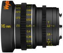 Veydra 16mm mini prime lens with metric scale, for Super 16/Micro Four Thirds only.