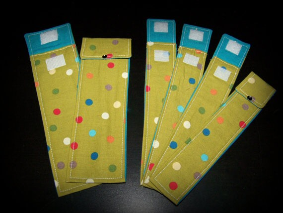 Knitting Needle Fabric Storage/Travel Cases - Set of 6 - Polka Party by Knotted Strings