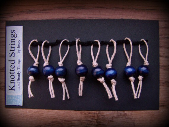 Go Natural Stitch Markers - Set of 8 - Blue/Natural by Knotted Strings...and Beady Things