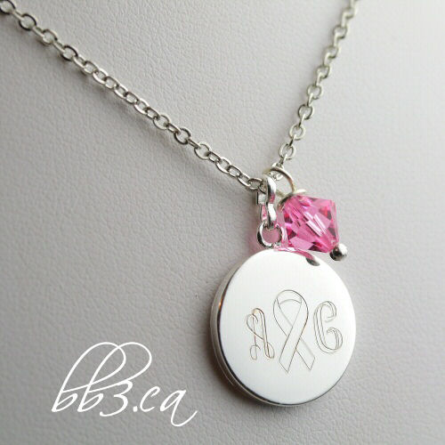 Breast cancer Awareness Necklace Engraved Personalized by Leilani Cleveland Deveau
