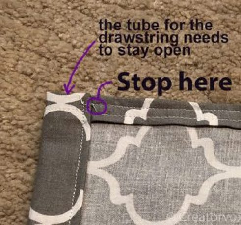 where to stop sewing the side seam of a drawstring bag so the top stays open