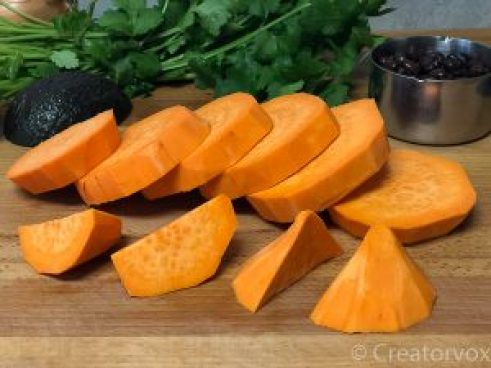 sweet potato rounds ready for cooking in delicious sweet potato skillet